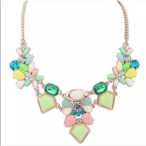 🆕 Pastel Gem and Crystal Statement Necklace